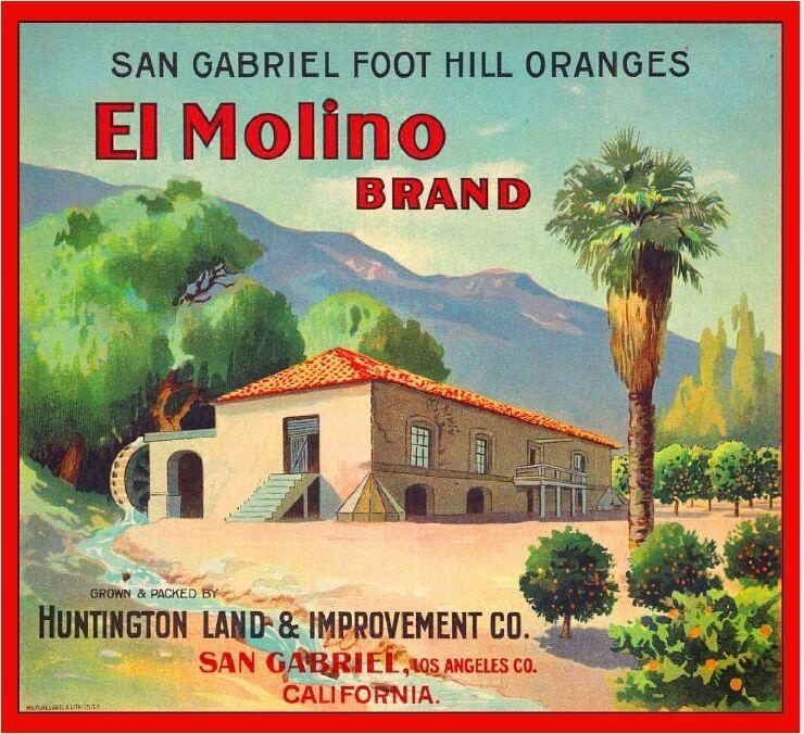 San Gabriel San Marino El Molino #2 Orange Citrus Fruit Crate Label Art Print