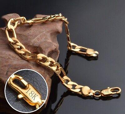 18k Yellow Gold Mens Womens Wide 8mm Figaro Cuban Curb Link Chain Bracelet D698 3