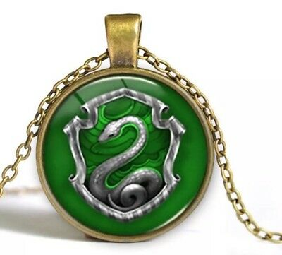 Harry Potter Slytherin Emblem Cabochon Necklace Gold 18