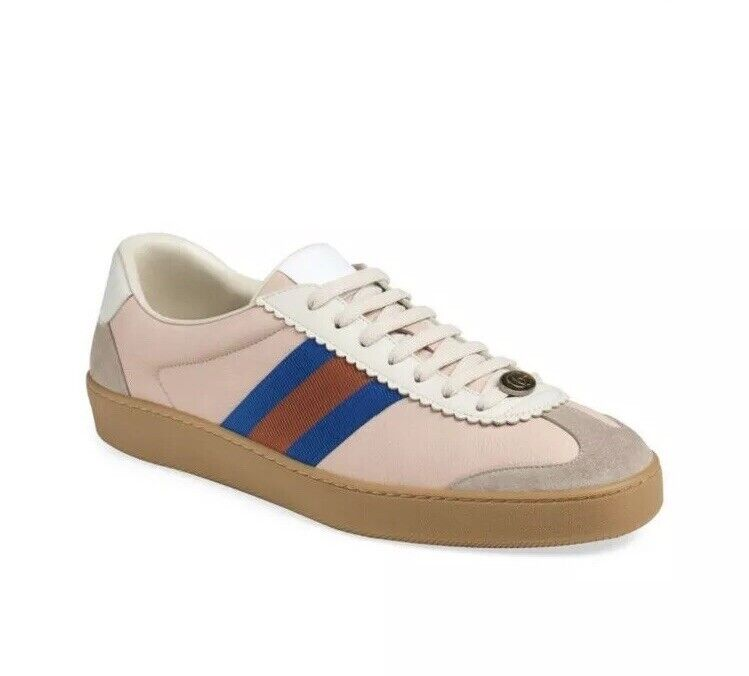 Authentic Gucci Leather & Suede Web Oatmeal Sneakers Size 12 NWB