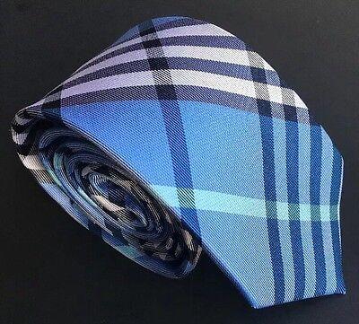 "Mens Express Neck Tie Slim Skinny Silk Blue Aqua Black New 2.75"" Check Narrow"