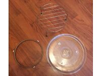 MICROWAVE GLASS TURNTABLE TOP WITH PLATE HOLDER AND METAL GRILL ALL 3 PIECES