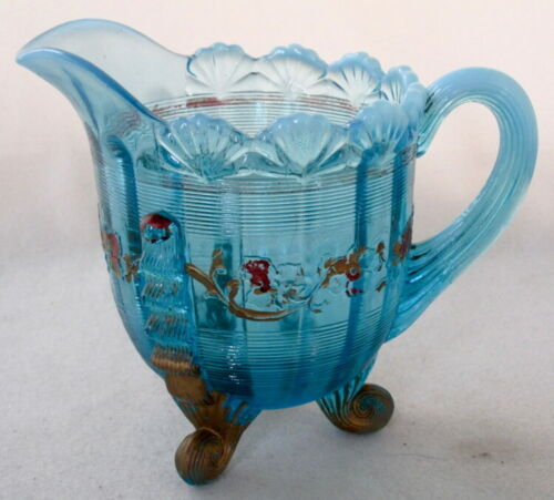 Victorian Northwood Glass decorated blue opalescent JACKSON creamer EAPG