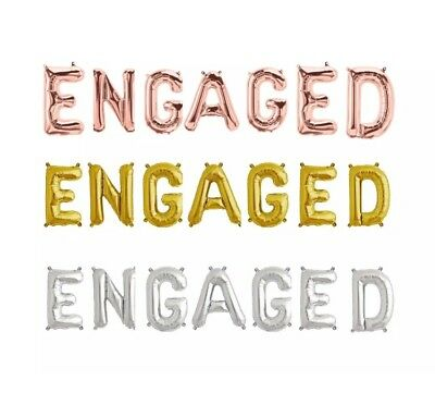 Engaged Balloons Banner Engagement Party Decorations Heart Rose Gold Silver Gold ()