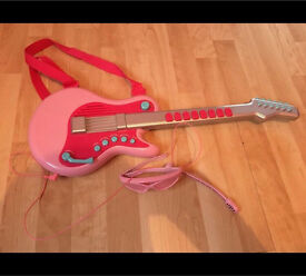 ELC pink guitar and microphone