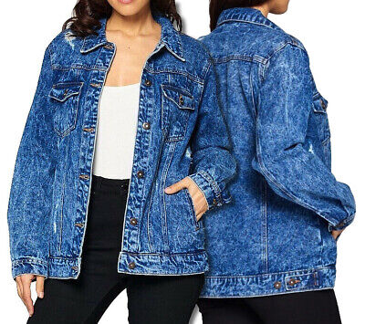 Women's Oversized Faded Distressed Boyfriend Denim Jean Button Up Cotton Jacket