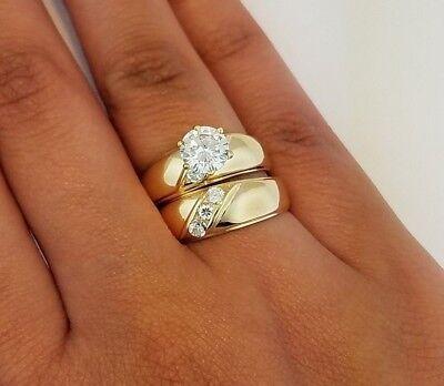 Cut Diamond Ring Band - 1.5 CT Round Cut Diamond Engagement Ring Set Wedding Band 14K Yellow Gold Bridal