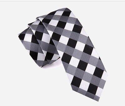 Cravatta slim cravattino uomo donna elegante a quadri nero grigio bianco