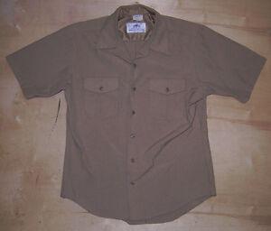... US Navy Mens Tan NSU Uniform Shirt Size Large Athletic Fit 48