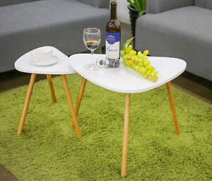2pc White/Bamboo Coffee Table