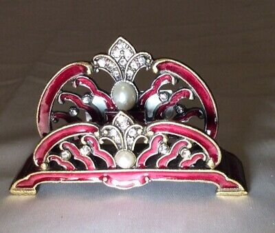 Vintage Looking -french Inspired Desk Business Card Holder W Pearls Crystals Red