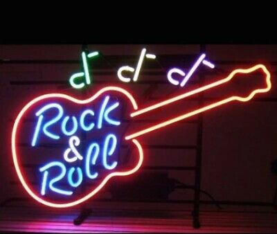 Rock And Roll Artwork - New Guitar Rock And Roll Bar Beer Cub Decor Artwork Neon Light Sign 20