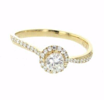 Diamond Engagement Ring Halo Style 18K Gold 0.65ctw 1/2ct Round Solitaire h/i  1/2 Ct Ctw Diamond Solitaire