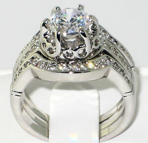 Heirloom Antique 1.75 Ct. CZ Bridal Engagement Wedding Ring 3 PC. Set - SIZE 9