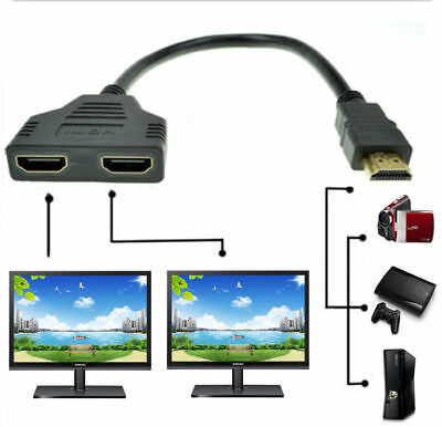 - 1080P HDMI Port Male to 2 Female 1 In 2 Out Splitter Cable Adapter Converter