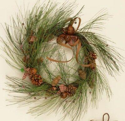 Long Needle Pine Wreath (LONG NEEDLE Pine Christmas WREATH With RUSTY JINGLE BELLS, Gingham BOWS,)