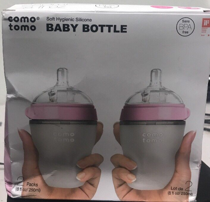 ComoTomo Baby Bottles, Medium Flow, Pink, 8oz, 2 Pack New