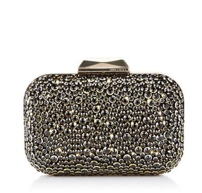 2018 Collection Jimmy Choo Black Halo Crystal Cloud Embellished Clutch 3k