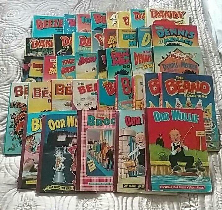38 Annuals - Beano, Dandy, Beezer, Oor Wullie, Broons, etc