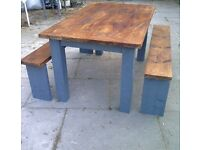 rustic reclaimed TABLE SOLID heavy SHABBY CHIC 2 benches approx 4ft x 3ft FARMHOUSE 5FT AVAILIBLE