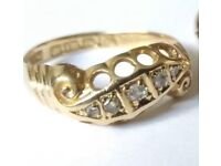 BEAUTIFUL ANTIQUE EDWARDIAN 18ct GOLD DIAMOND RING SIZE I