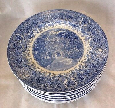 Wedgwood University Of Michigan Plates Set Of 12 Blue And White Made In England