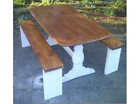 farmhouse cottage table and two benches approx 5x3ft reclamed tops benches