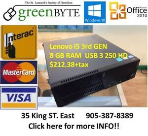 i5 Lenovo sff 3rd GEN 8 GB RAM USB 3 Win 10 Office 2010