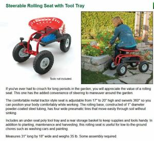 Steerable Rolling Seat with Tool Tray