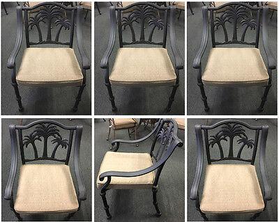 Palm tree patio furniture outdoor cast aluminum chairs set of 6 Desert -