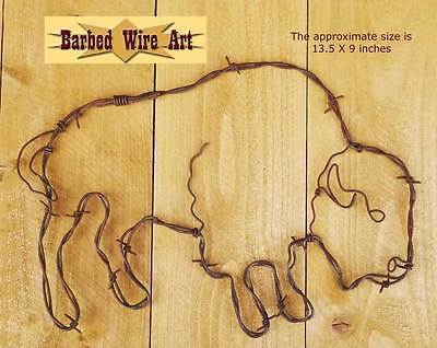 (Buffalo  - handmade metal decor barbed wire art farm animal country sculpture)