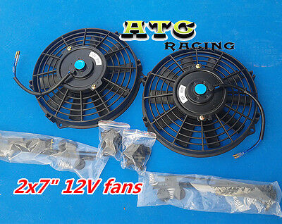 "2 x 7"" 12V UNIVERSAL PUSH PULL SLIM ELECTRIC RADIATOR ENGINE BAY COOLING FAN"