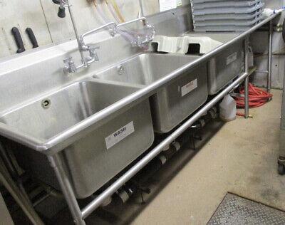 Three Compartment Sink W Drainboard Two Sprays. 118x29
