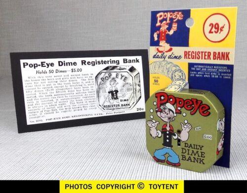 Popeye daily dime coin bank Kalon register savings bank