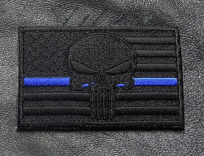 SKULL SWAT POLICE LAW ENFORCEMENT THIN BLUE LINE USA FLAG PUNISHER HOOK PATCH