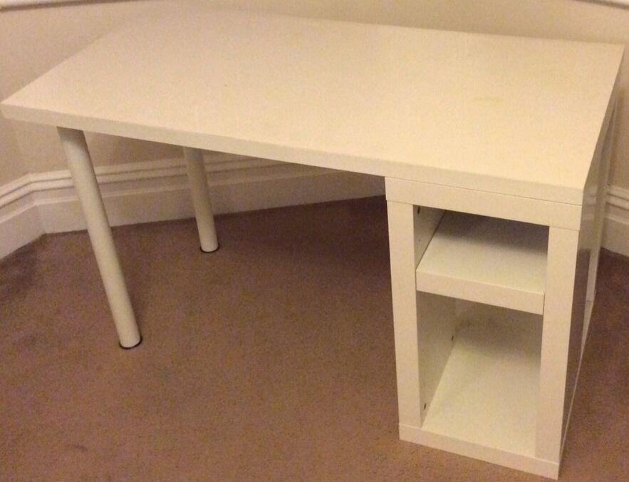 Ikea white desk vika annefors vika amon chunky table for Ikea study desks