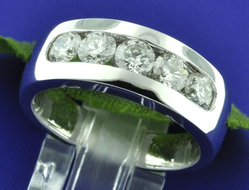 2.00 Ct 14k Solid White Gold Mens  Diamond Ring Channel Set Si I 5 Stone