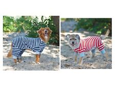 Striped Pajama for Dogs - Red or Blue - XXS - L Cozy fleece PJS Poly/Cotton
