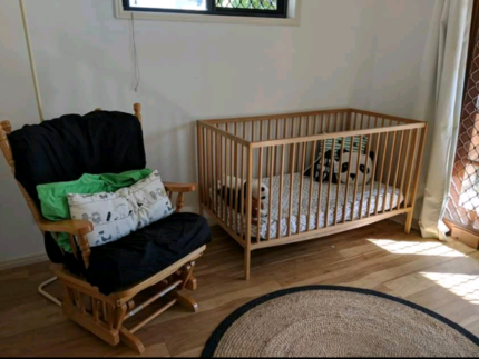 Cot, change table & rocking chair
