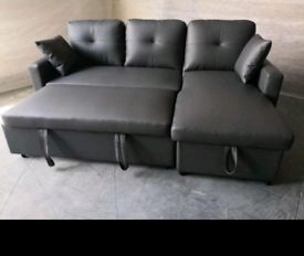 Black or grey Bonded leather corner Sofabeds with storage