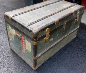 Trunk, vintage steamer trunk, came from Europe in 1950 $150