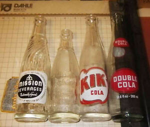 Vintage collectable pop bottles. KIK, Mission, Jackson
