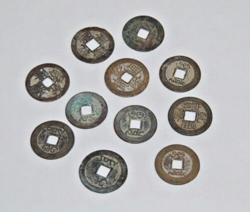ANTIQUE Chinese CHIEN LUNG Ancient Cash Coin Bronze CHING Dynasty lot of 10