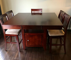 Counter height cherry table with 6 chairs Edmonton Edmonton Area image 1