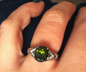 Sterling silver GREEN tourmaline ring!
