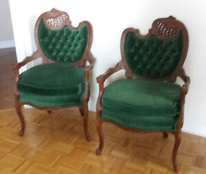 Rococo Style Bergere Chairs Green Velvet
