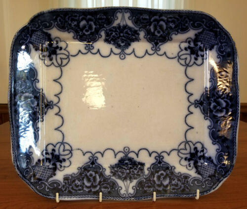 FLOW BLUE PLATTER c1895 English Transferware LONSDALE Pattern Samuel Ford & Co.