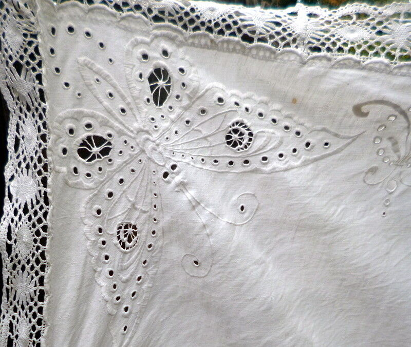 EXQUISITE Antique Hand Embroidered BUTTERFLY Linen Tablecloth *MOVIE STAR ESTATE