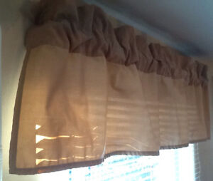 BEIGE VALANCE Also GLASS DRAGONFLY, TAUPE PANELS  BEIGE VALANCE