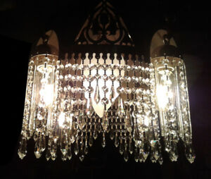 One-of-a-kind, 1930s, Prism Studded, Art Nouveau Chandelier